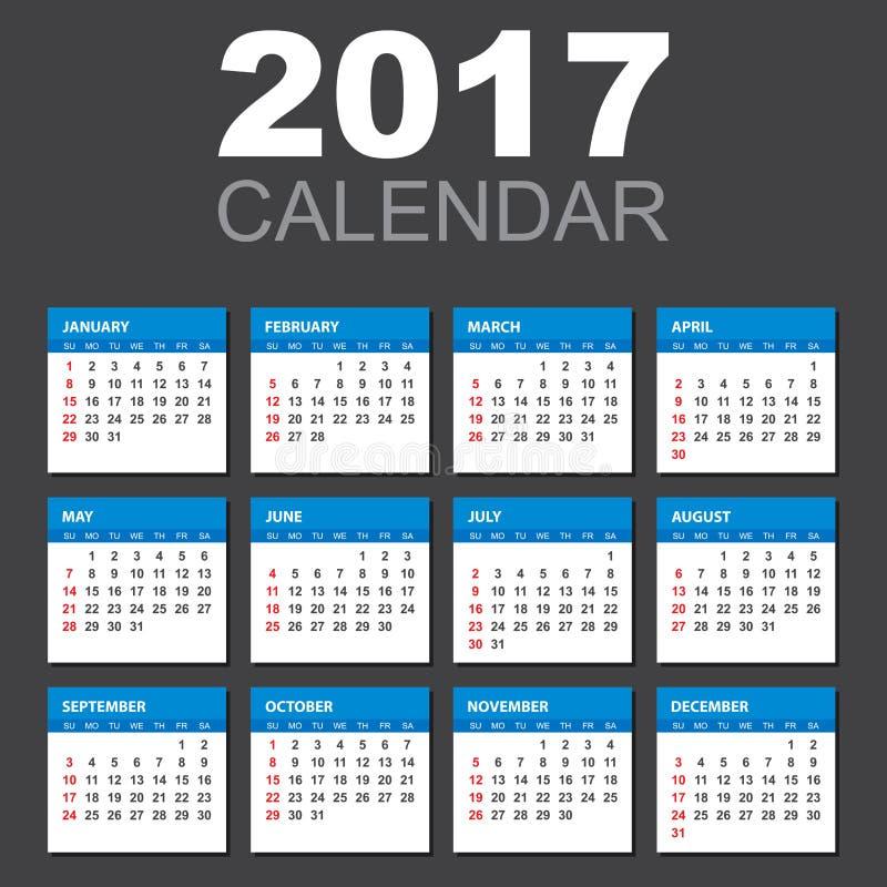 Kalender 2017 i horisontalstil vektor illustrationer