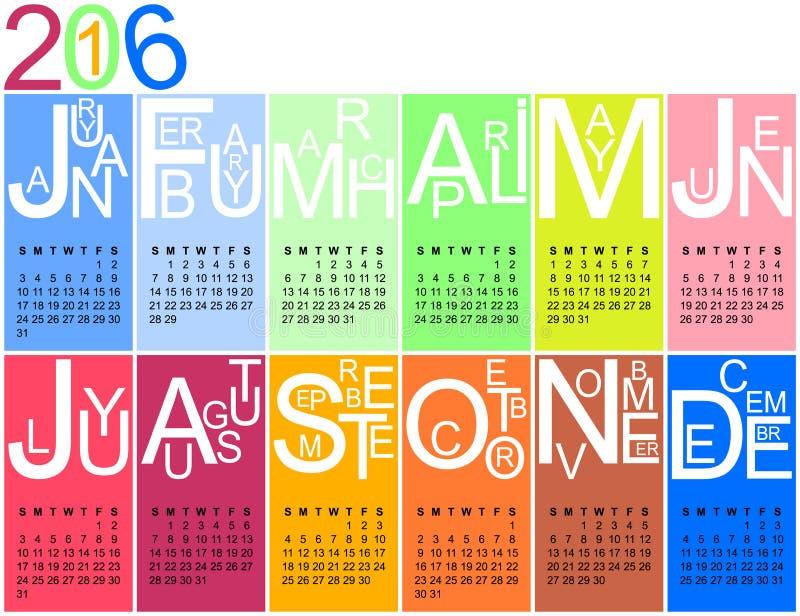 kalender 2016 i ljusa färger royaltyfri illustrationer