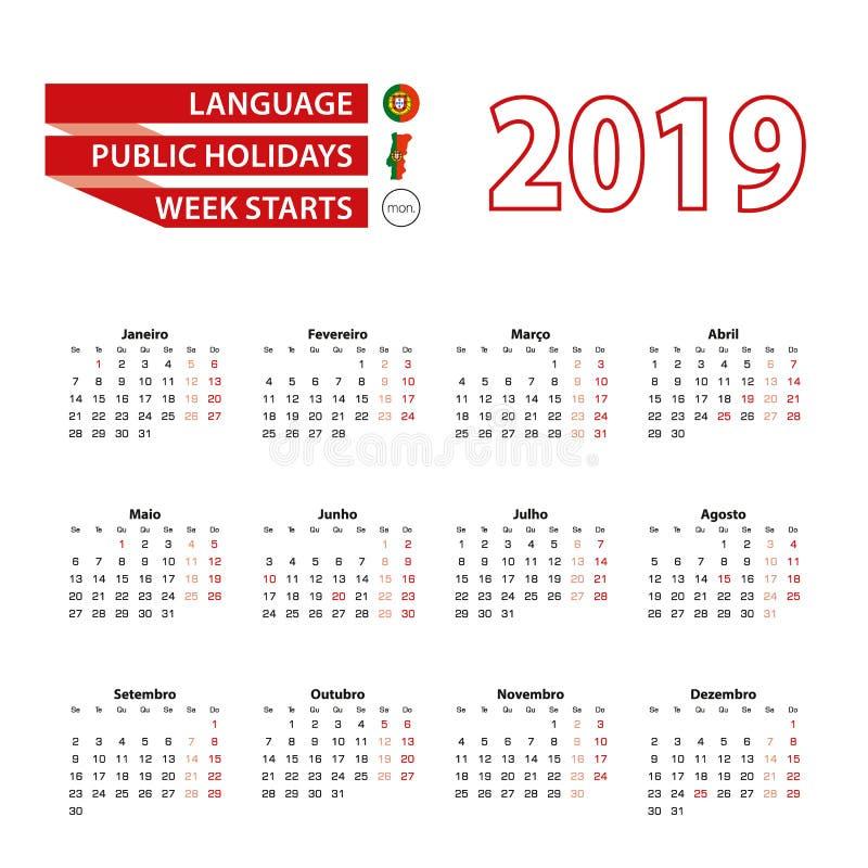 Kalender 2019 i portugisiskt språk med offentliga ferier Co vektor illustrationer