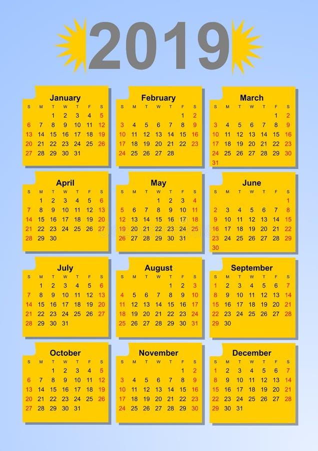 Kalender 2019 i solfärger, månader i gula ramar på ljust - blå bakgrund stock illustrationer