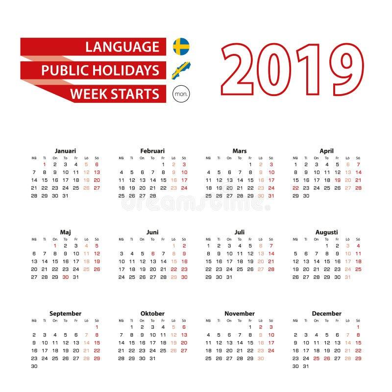 Kalender 2019 i svenskt språk med offentliga ferier counen vektor illustrationer