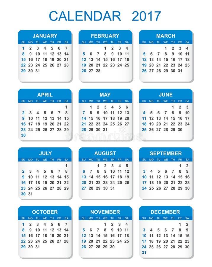 Kalender 2017 i vertikal stil vektor illustrationer