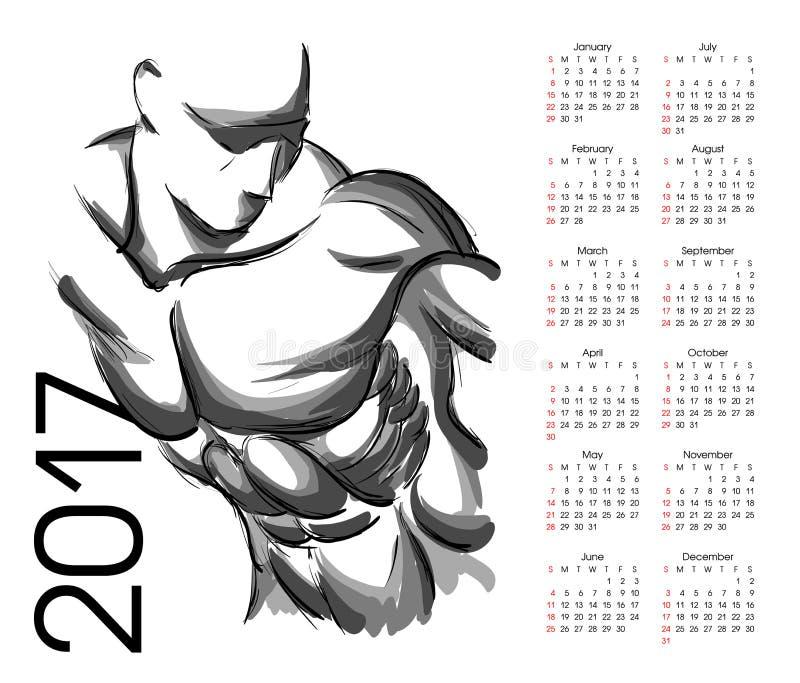 Kalender 2017 Idrottsman nen stock illustrationer