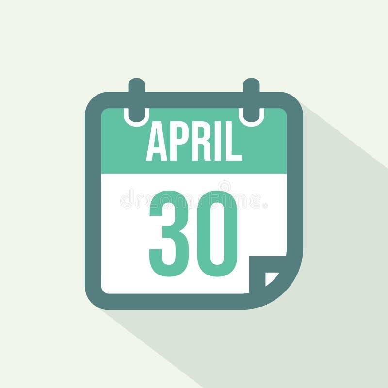 Kalender-Ikone des vom 30. April - Vektors stock abbildung