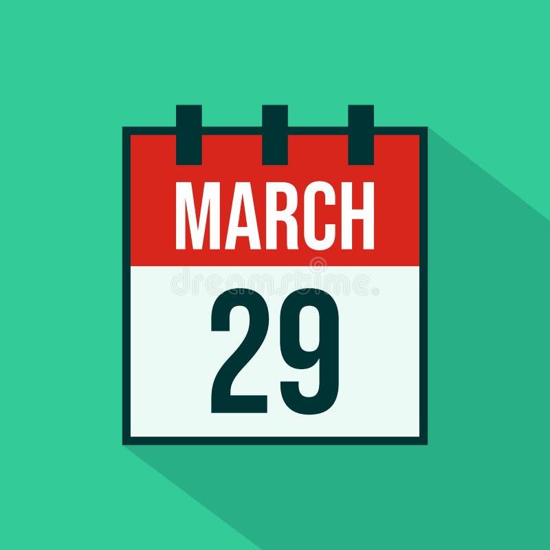 Kalender-Ikone des vom 29. März - Vektors lizenzfreie abbildung