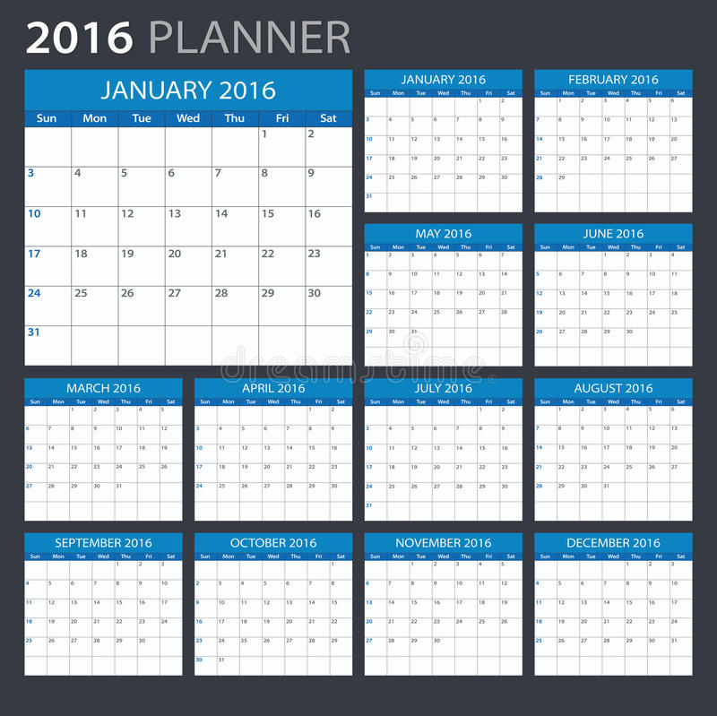 2016 kalender illustration vektor abbildung. Black Bedroom Furniture Sets. Home Design Ideas