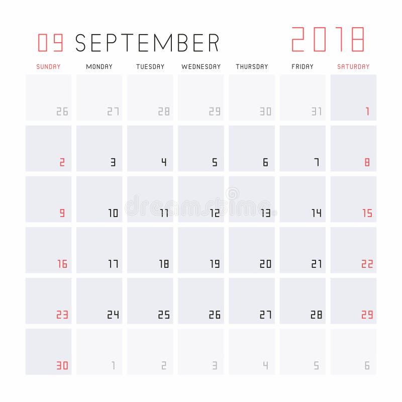 Kalender im September 2018 stock abbildung