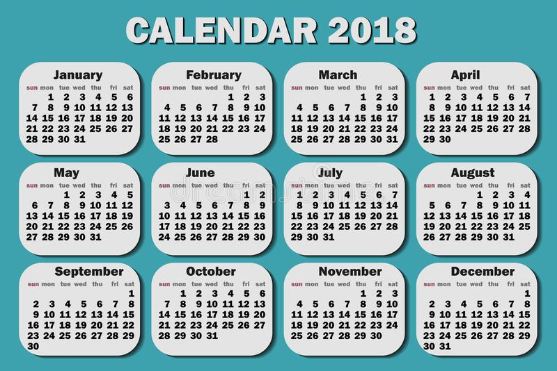 Kalender 2018-jährig Woche fährt von Montag ab Schablone für Ihr Design auf einem grünen Hintergrund Auch im corel abgehobenen Be lizenzfreie abbildung