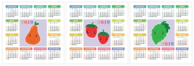 Kalender 2019 jaar Kleurrijke Engelse reeks Glimlachende vruchten, berrie vector illustratie