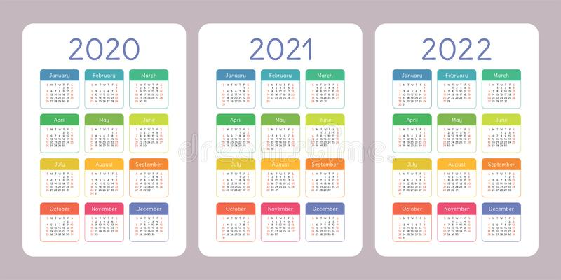 Kalender 2020, 2021, 2022 Jahre Vertikale Vektorkalender-Entwurfsschablone Bunter Satz Wochenanfänge am Sonntag stock abbildung