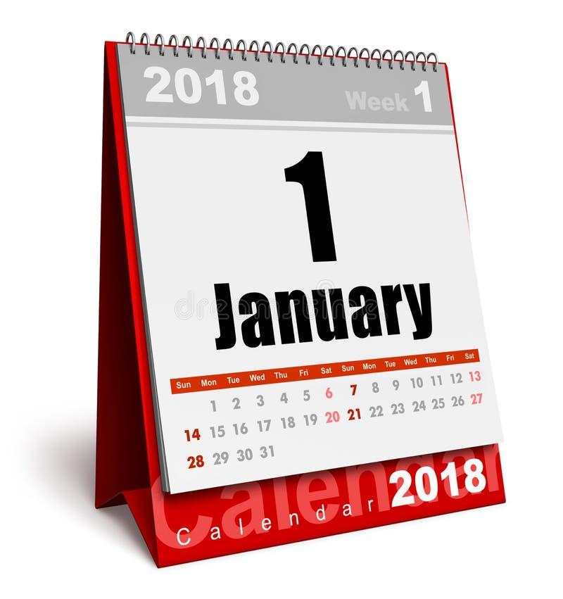 Kalender Januari 2018 för nytt år royaltyfri illustrationer