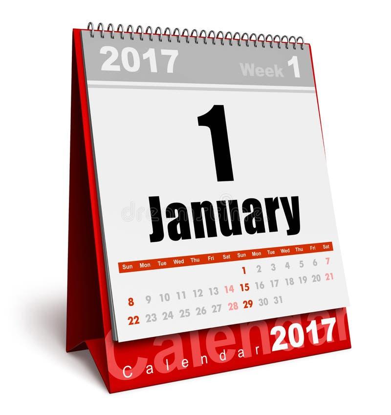 Kalender Januari 2017 för nytt år vektor illustrationer