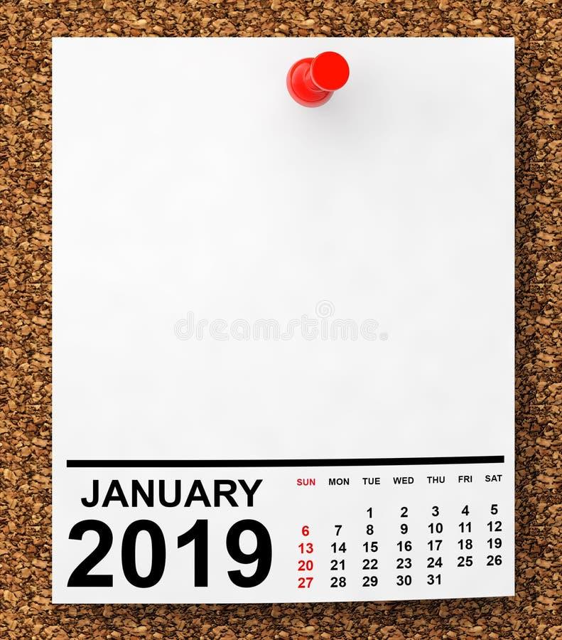 Kalender Januari 2019 framförande 3d royaltyfri fotografi