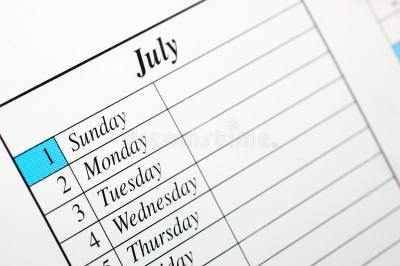 Kalender Juli 2007 stock foto
