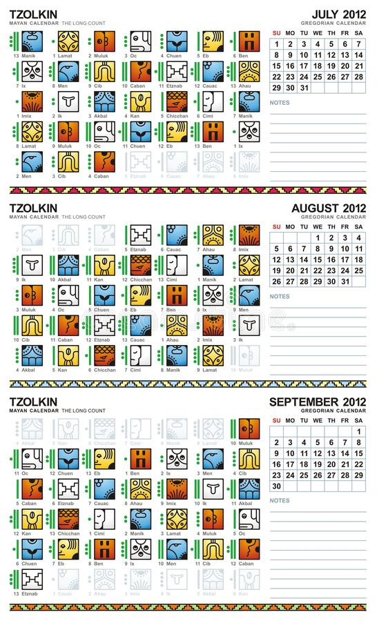 kalender juli mayan september för 2012 american vektor illustrationer