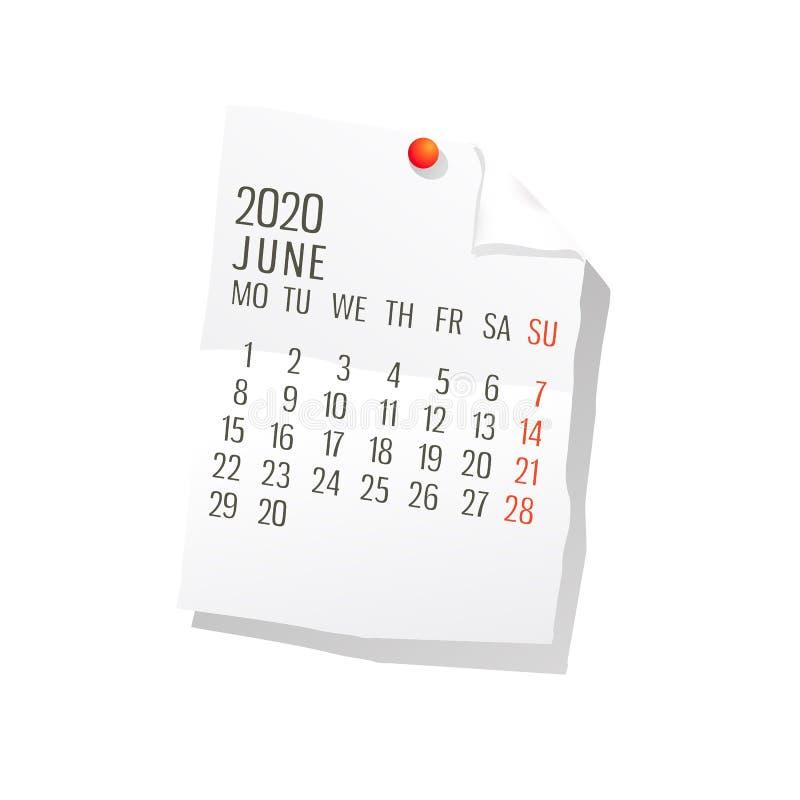Kalender Juni-2020 stock abbildung