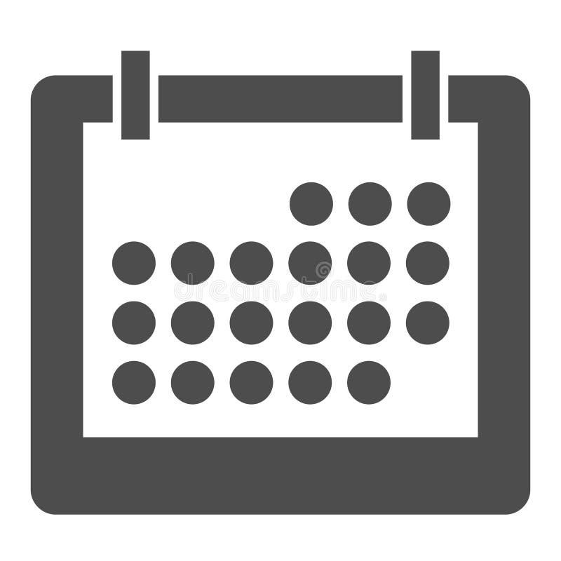 Kalender-Körper-Ikone Monatsvektorillustration lokalisiert auf Weiß Anzeige Glyph-Artentwurf, bestimmt für Netz und App stock abbildung
