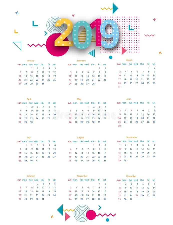 Kalender 2019 Kalenderplakat der Schablone des modernen Entwurfs Helles Plakat im Stil Memphis Die Woche beginnt an stock abbildung