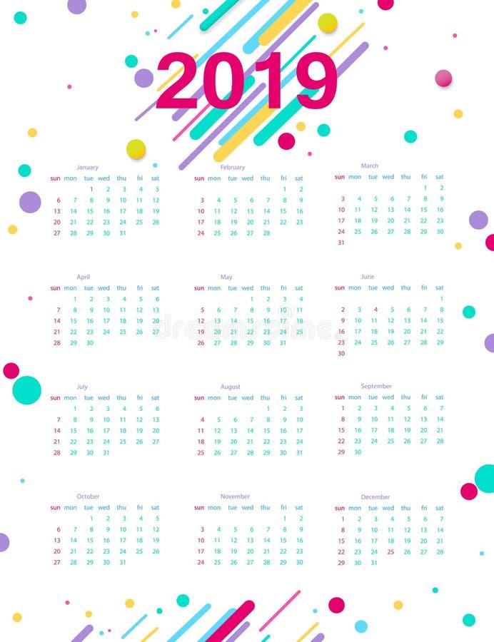 Kalender 2019 Kalenderplakat der Schablone des modernen Entwurfs Helles Plakat im Stil Memphis Die Woche beginnt an lizenzfreie abbildung