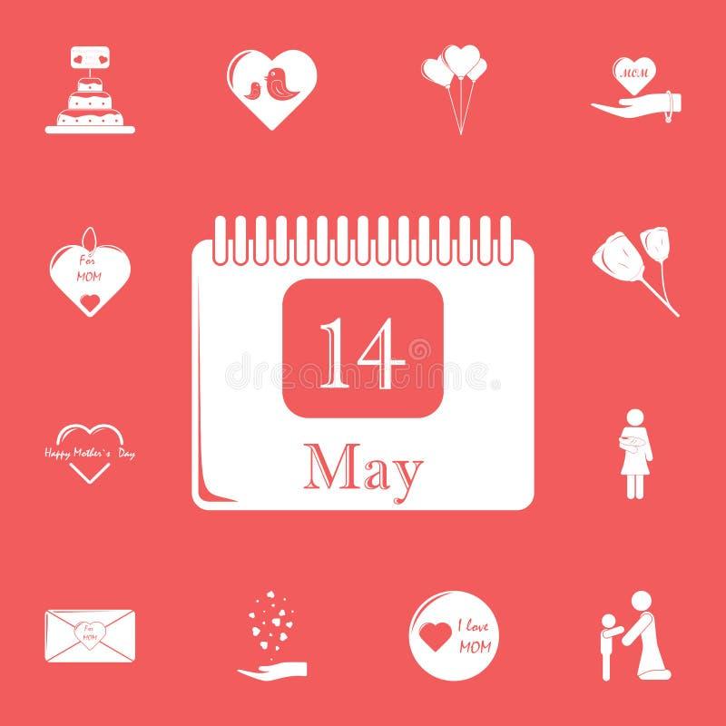 Kalender 14 kann Ikone Ausführlicher Satz Muttertagesikonen Erstklassiges Grafikdesign Eine der Sammlungsikonen für Website, Netz stock abbildung