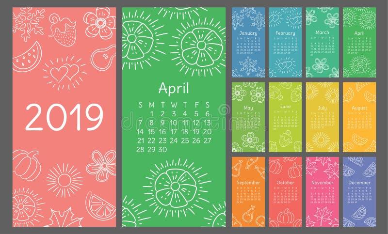 Kalender 2019 kleurrijke hand getrokken schets Bloem, hart, blad, aardbei, watermeloen, zon, sneeuwvlok, pompoen, peer vector illustratie