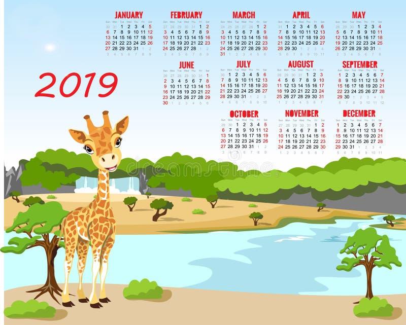 Kalender 2019 Leuke maandelijkse kalender met beeldverhaaldier stock illustratie
