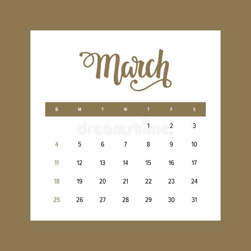 Kalender März 2018 Ein Monat der eleganten Designschablone des Jahres vektor abbildung