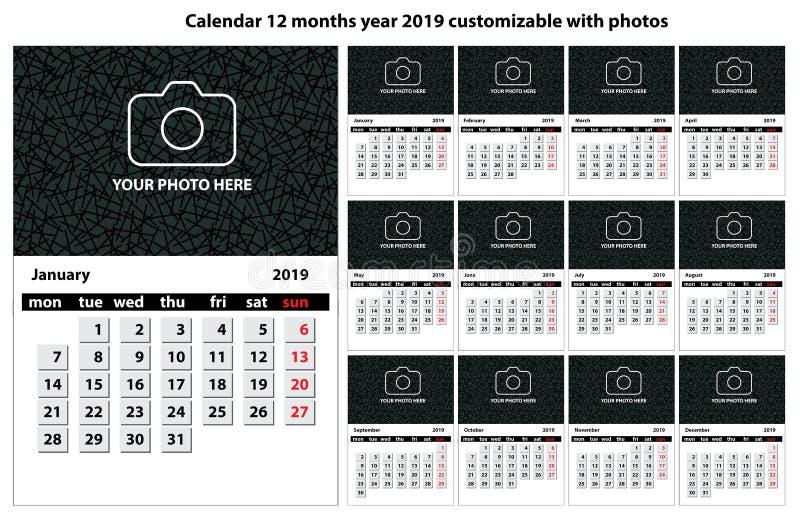 Kalender 12 månader customizable år 2019 med text, foto och färger stock illustrationer