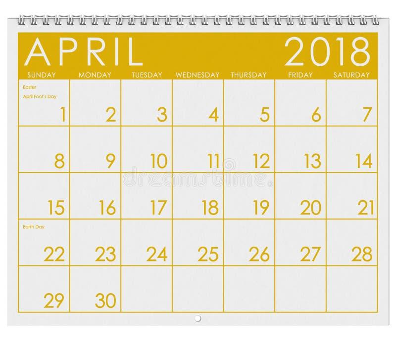 2018 Kalender: Maand van April With Easter royalty-vrije illustratie