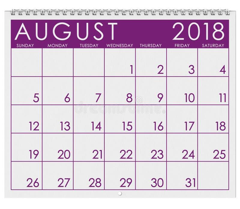 2018 Kalender: Maand van Augustus royalty-vrije illustratie