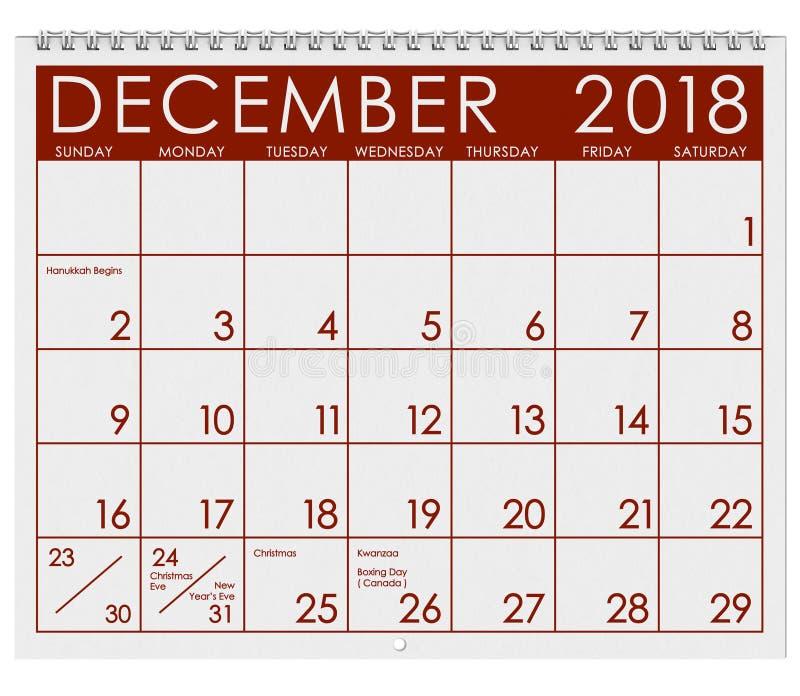 2018 Kalender: Maand van December met Kerstmis vector illustratie