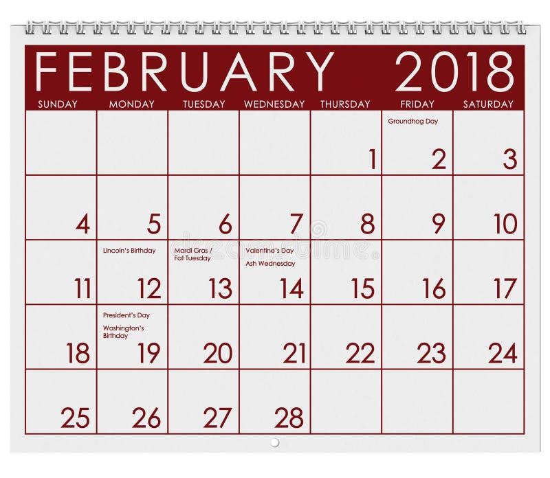 2018 Kalender: Maand van Februari met de Dag van Valentine ` s royalty-vrije illustratie