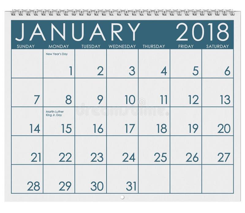 2018 Kalender: Maand van Januari met Nieuwjaar` s Dag royalty-vrije illustratie