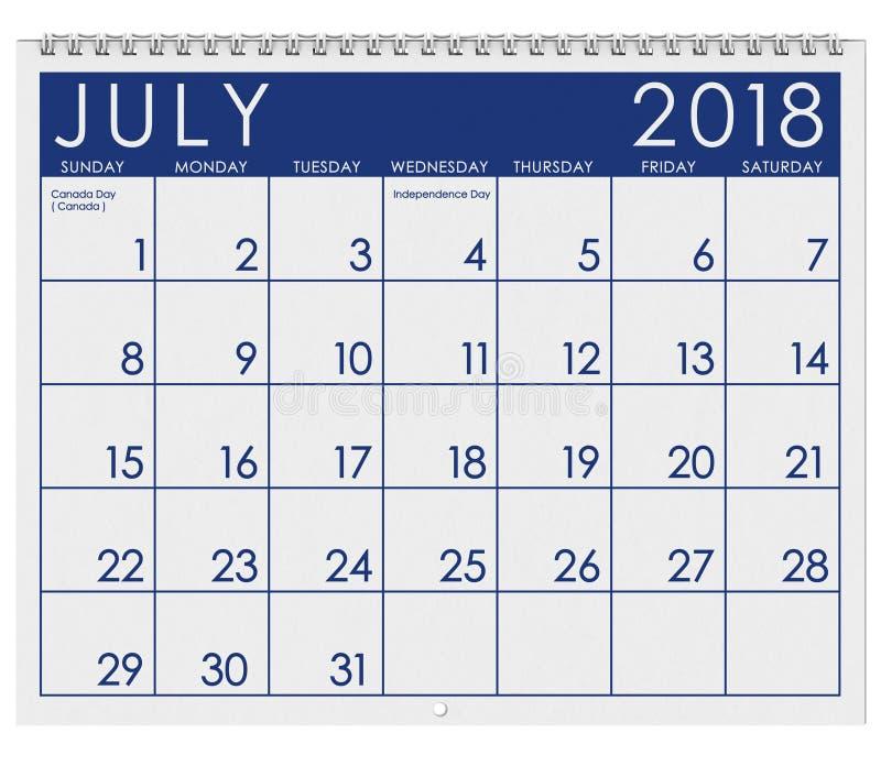 2018 Kalender: Maand van Juli met Onafhankelijkheidsdag vector illustratie