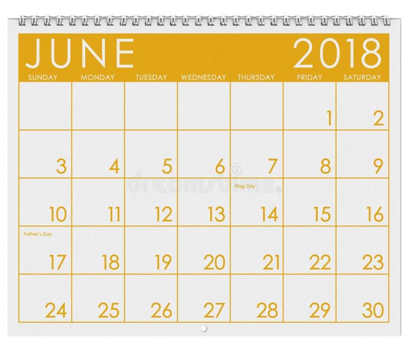 2018 Kalender: Maand van Juni met Vlagdag stock illustratie