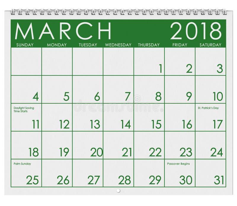 2018 Kalender: Maand van Maart met St Patrick ` s Dag stock illustratie