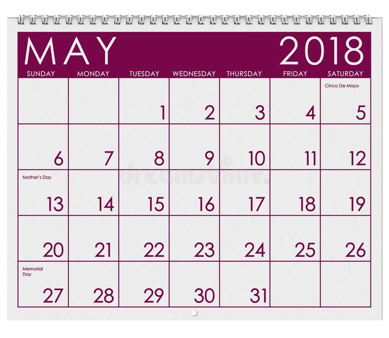 2018 Kalender: Maand van Mei met Moeder` s Dag royalty-vrije illustratie