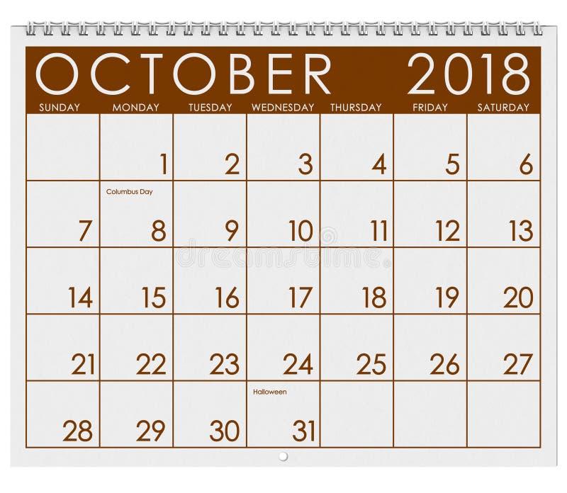 2018 Kalender: Maand van Oktober met Halloween vector illustratie