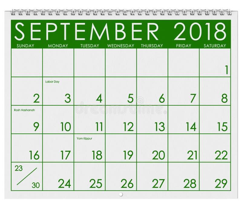 2018 Kalender: Maand van September met Dag van de Arbeid stock illustratie