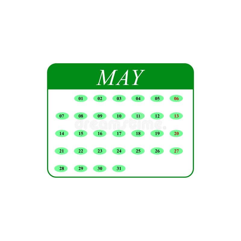 Kalender-Mai-Monatsikonen vektor abbildung