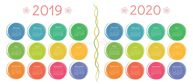 Kalender 2019, mall för 2020 design Färg ungar som är roliga arkivfoto