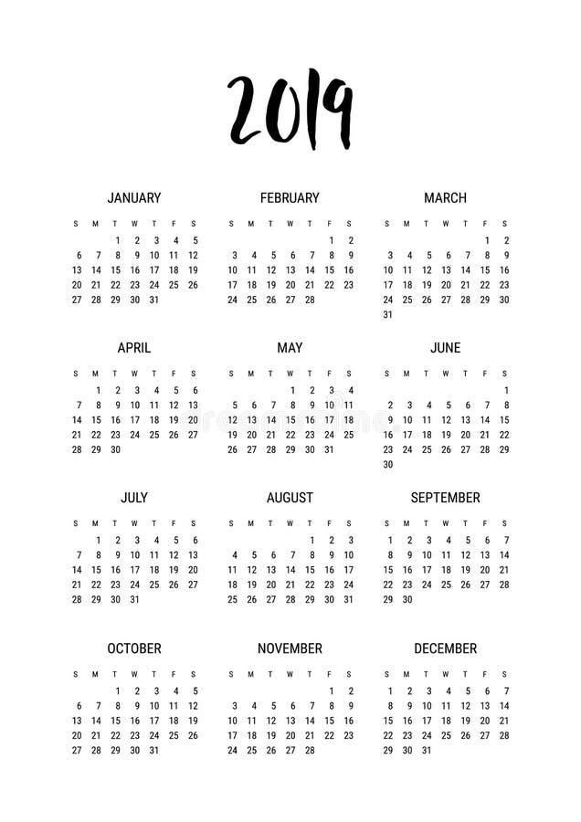 kalender 2019 Mall för vektorkalenderdesign, årsstadsplanerare, datum för dagbokmåndag månad, starter på söndag, utdragen bokstäv stock illustrationer