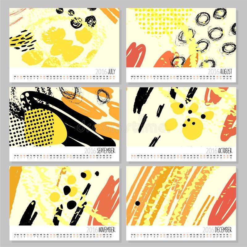 Kalender 2016 Mallar med hand drog texturer som göras med färgpulver vektor illustrationer
