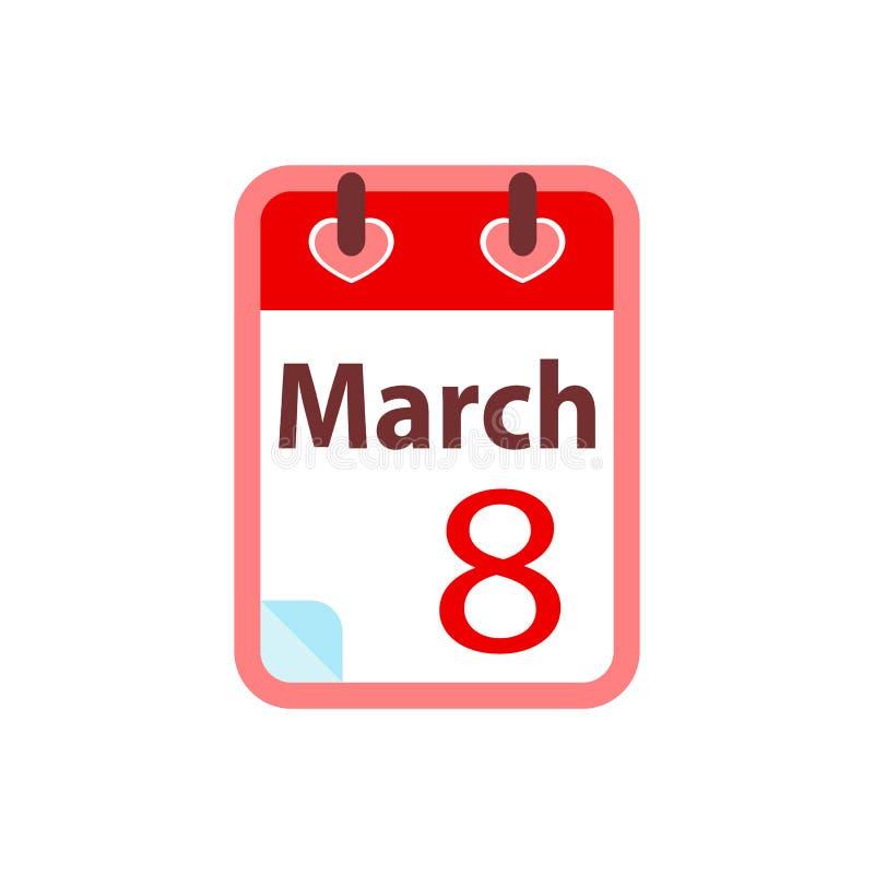 Kalender8 mars Lyckliga kvinnors dag Plan vektorillustration vektor illustrationer