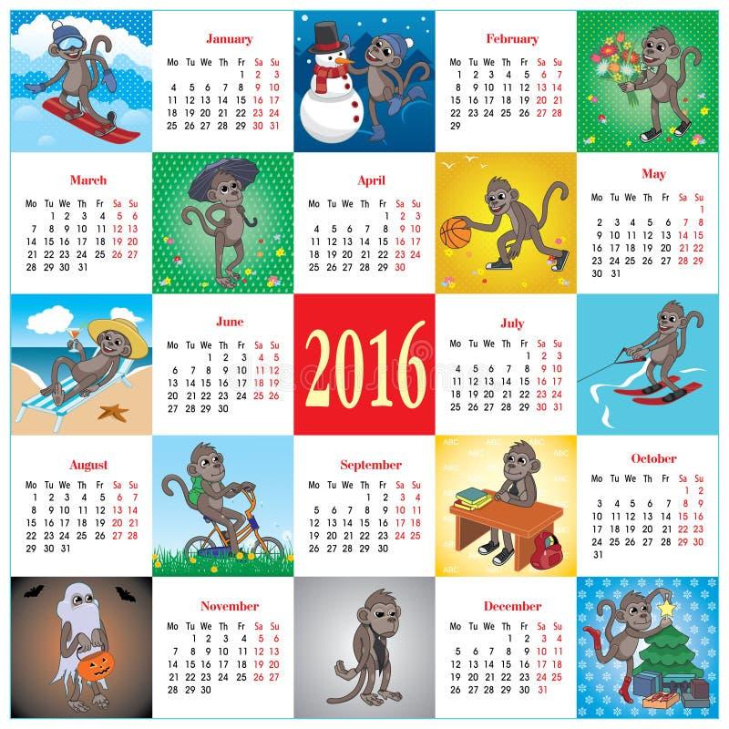 Kalender 2016 med apor royaltyfri illustrationer