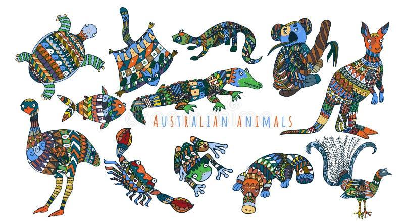Kalender med australiska färgrika djur stock illustrationer