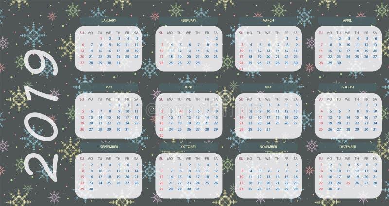 kalender 2019 med blå och vit eps10 för snöflingabakgrund stock illustrationer