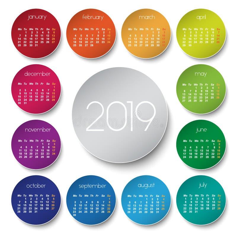 kalender 2019 med cirklar royaltyfri illustrationer