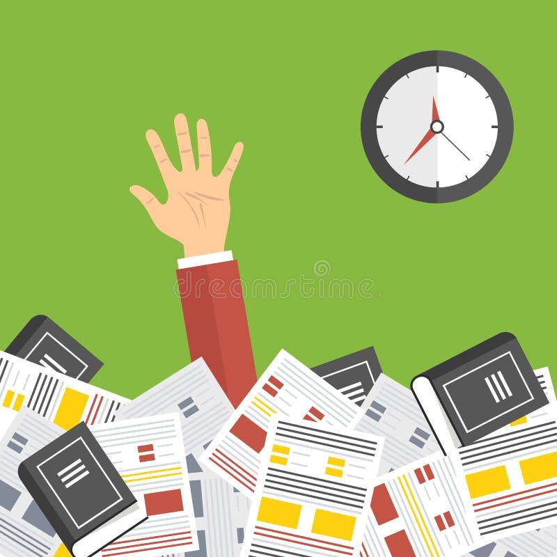 Kalender med datumsymbolen inom målet på Digital bakgrund Överansträngd affärsman under många dokument Mycket arbetsbegrepp royaltyfri illustrationer