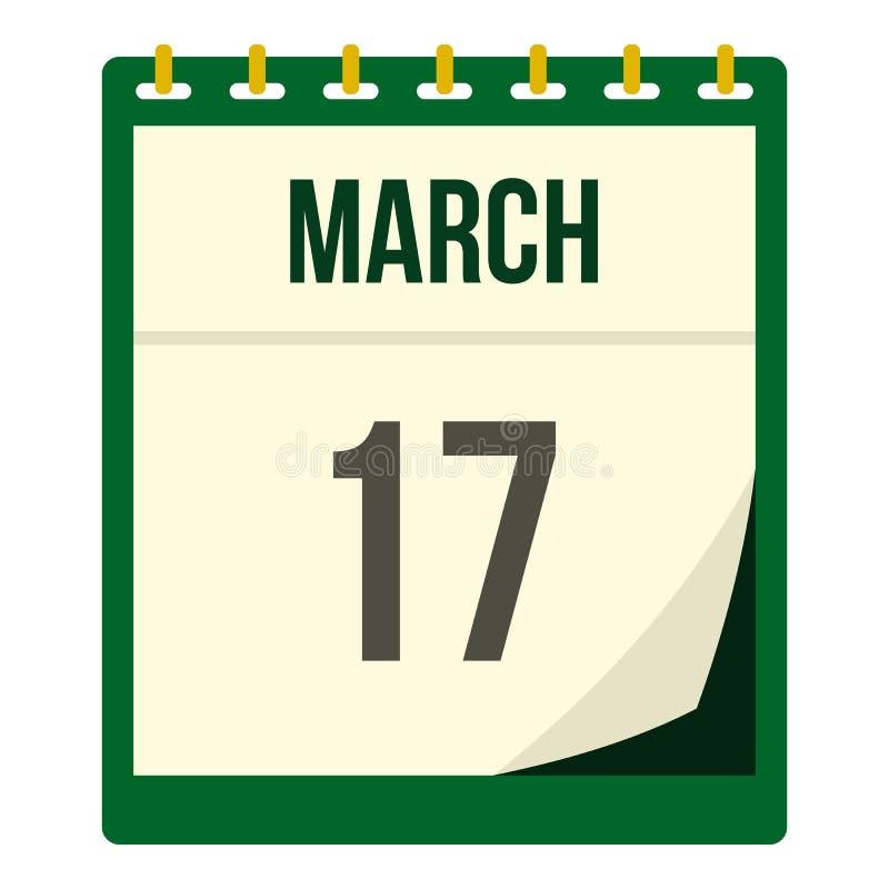 Kalender med den isolerade datumsymbolen för St Patrick Day vektor illustrationer